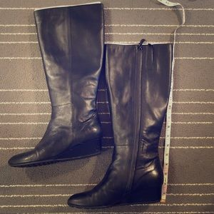 Cole Haan - black leather wedge boots